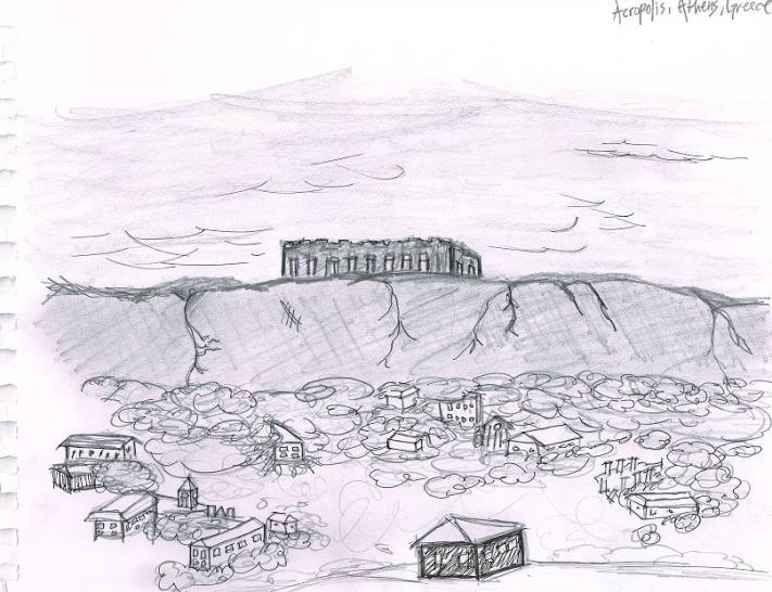 A view of the Parthenon from a local hostel.