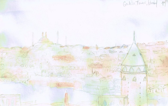 Galata Tower, Andriani Watercolor