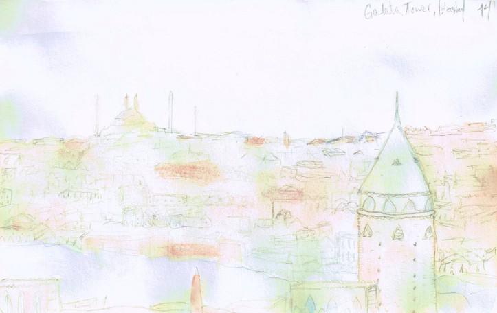Galata Tower, Andriani Watercolor